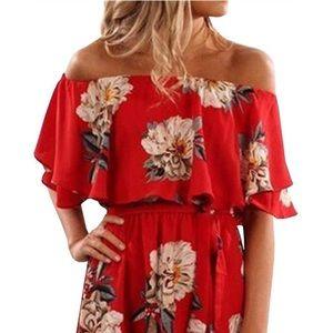 Dresses & Skirts - Red Floral Print Off Shoulder Dress